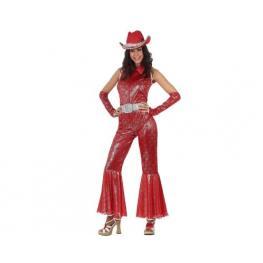 Disfraz Disco Woman Brillo Rojo Talla 3.