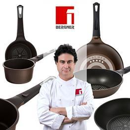 Bergner Sacher: Juego de útiles de Cocina: Cazo 16 y Sartén Wok 28Cm