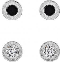 2 Pares Pendientes Esmalte Negro/piedras. Color Plata