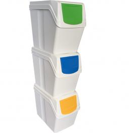 3 Cubos de Reciclaje Con Capacidad de 60 Litros - Color Blanco