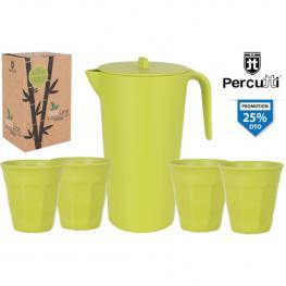 4Set Jarra 1.5L /4 Vasos - Plastico, Bambu