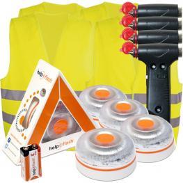 4X Help Flash V.2 2021- Luz de Emergencia Autónoma + 4 Martillos + 4 Chalecos - Naranja