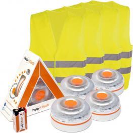 4X Help Flash V.2 2021 - Luz de Emergencia Autónoma + 4 Chalecos - Naranja