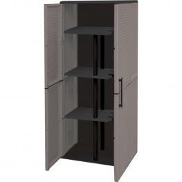Armario Porta Escobas En Polipropileno, Con Bisagras de Acero y Estantes Regulables
