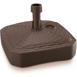 Base de Sombrilla de Polietileno Cuadrada Con Diseño Trenzado 39 X 39 X 13 Cm En Color Chocolate