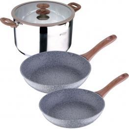 Bateria de Cocina 4 Piezas: Sartenes, Ollas Con Tapas de Vidrio Serie Granitos
