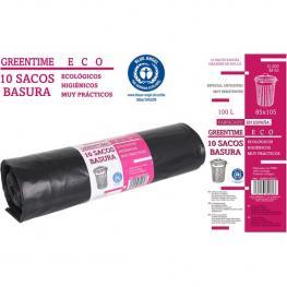 10 Sacos Basura 85X105-G200-100 L. Greentime Eco