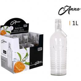 Botella Vidrio 1L Tapón Asa Clásico Anna