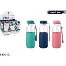 Botella Agua Vidrio Silicona  300 T/sil