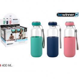Botella Agua Vidrio Silicona  400 Bewin