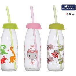 Botella de Vidrio Decorado C/pajita 250Ml - Surtidos