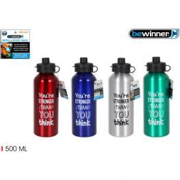 Botella Sport Agua Aluminio Push 500Ml