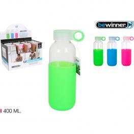 Botella Sport Agua Vidria Silicona 400 Bewin