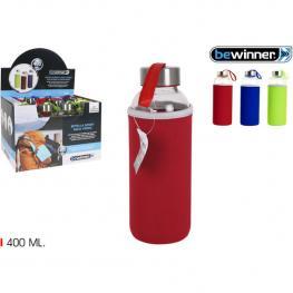 Botella Sport Agua Vidrio Funda 400Ml Bewinner