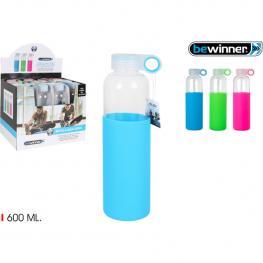 Botella Sport Agua Vidrio Silicona 600 Bewin