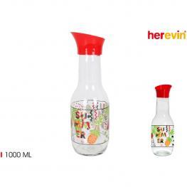 Botella Vidrio Decorada 1000Ml Tapуn Aut