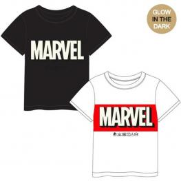 Camiseta Corta Premium Glow In The Dark Single Jersey Marvel - Blanco // Talla 10 Años