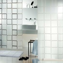 Cortina de Ducha Textil 100% Polyester, Negro