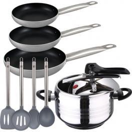 Olla A Presión 5L Duna, Set 3 Sartenes Proffesional Chef Platinum 18/20/24 + Set 4 Utensilios de Cocina