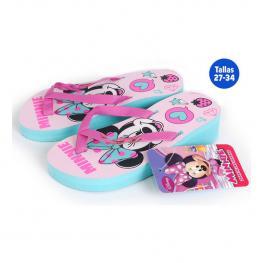Chanclas Para Niña Minnie Mouse Azul y Rosa