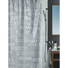 Cortina de Ducha Textil , Plateado