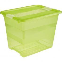 Cubo de Almacenaje Con Tapa, Plástico, Verde Transparente, 39.5X29.5X30 Cm