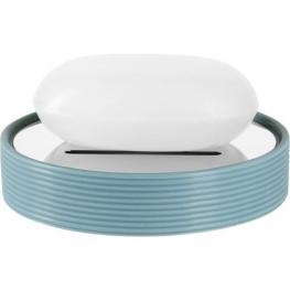 Spirella Tube Ribbed Bandeja Para Pastilla de Jabón 11  X 11 X 2,6 Cm Gres Azul