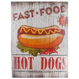 Fast Food Hot Dogs Cuadro de Madera