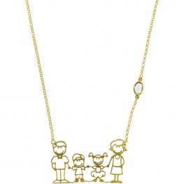 Gargantilla En Plata de Ley 925 Con Baño En Oro y Piedra Semipreciosa - Modelo Family