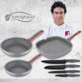 Granito Set 3 Sartenes + 4 Fiambreras