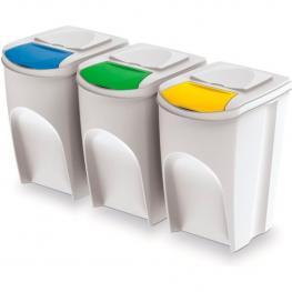 Juego de 3 Cubos de Reciclaje 105L Prosperplast Sortibox de Plastico En Color Blanco