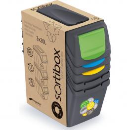 Juego de 3 Cubos de Reciclaje - 60 Litros - Color Antracita