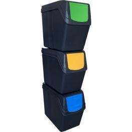 Juego de 3 Cubos de Reciclaje - 60 Litros- Color Antracita