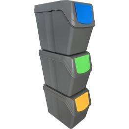 Juego de 3 Cubos de Reciclaje- 60 Litros de Compartimento -Gris