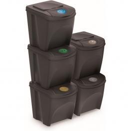 Juego de 5 Cubos de Reciclaje 125L Prosperplast Sortibox de Plastico En Color Antracita