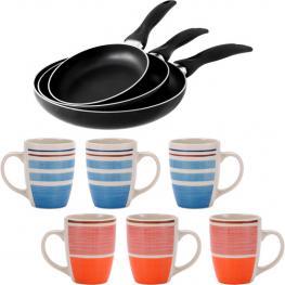 Set Hogar Cocina: Set Sartenes 3 Pcs y 6 Mugs