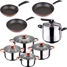 Set de Olla A Presión 7L Sip Duna + Batería Cocina 8 Piezas Sip + Set 3 Sartenes Sip Moma