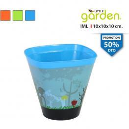 Maceta Cónica 10X10X10Cm C/plato Little Garden - Colores Surtidos