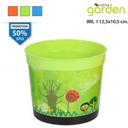 Maceta Redonda 12.5X10.5Cm C/plato Little Garden - Colores Surtidos