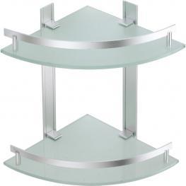Estante de Rincón 2 Niveles de Aluminio y Vidrio Tabarca
