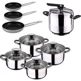 Set de Olla A Presión 7L Sip Duna + Batería Cocina 8 Piezas Sip + Set3 Sartenes Professional Chef Platinum