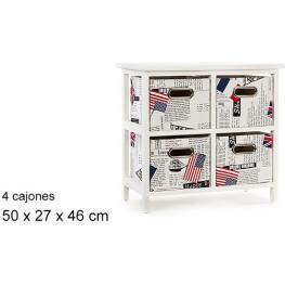 Mueble Blanco 4 Cajones Paises 50X27X46