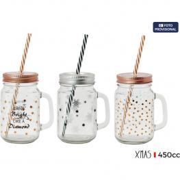 Mug Deco C/tapa+Pajita 450Cc Xmas