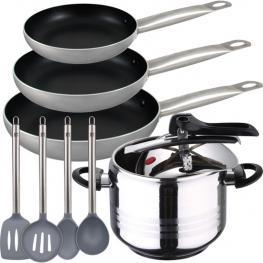 Olla A Presión 7 L+ Set 3 Sartenes + Set 4 Utensilios de Cocina
