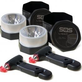 Pack 2 Sos Light Más 2 Martillos de Seguridad, Portátil de Emergencia, Para Coche Rompeventanas y Cortador de Cinturón de Seguridad