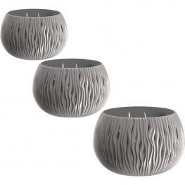 Pack 3 Macetas Prosperplast Bowl Sandy de Plástico Con Depósito En Color Gris Piedra, Tamaño Set L