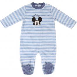 Pelele de Manga Larga Para Bebé Mickey Mouse Azul