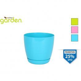 Maceta C/plato 16Cm Little Garden - 3 Colores Surtidos