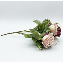 Ramo de Rosas Otoñales de 32 Cm Con 7 Cabezas En Color Lila