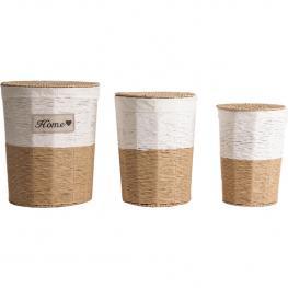 Ropero Juego de 3 Cestos Cuerda Home 44X53Cm Blanco/marrón